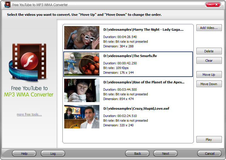 Free Video to MP3 WMA Converter 4.1.9 Screen shot
